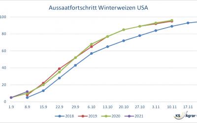 US-Winterweizenaussaat schneller als letztes Jahr